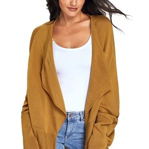 Mustard Dolman Sleeve Knit Cardigan with Pocket